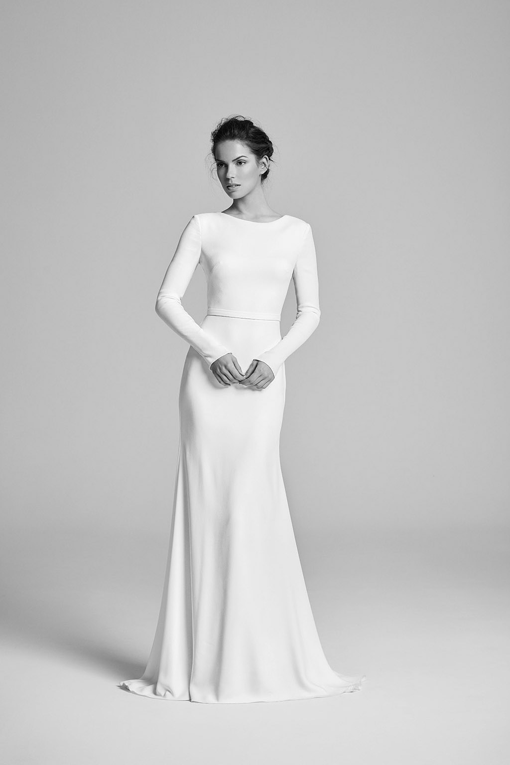 Minimal Wedding Dress With Long Sleeves